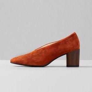 Vagabond Shoemaker Eve Chestnut Pumps Goat Leather Suede Block Heel 40/9.5